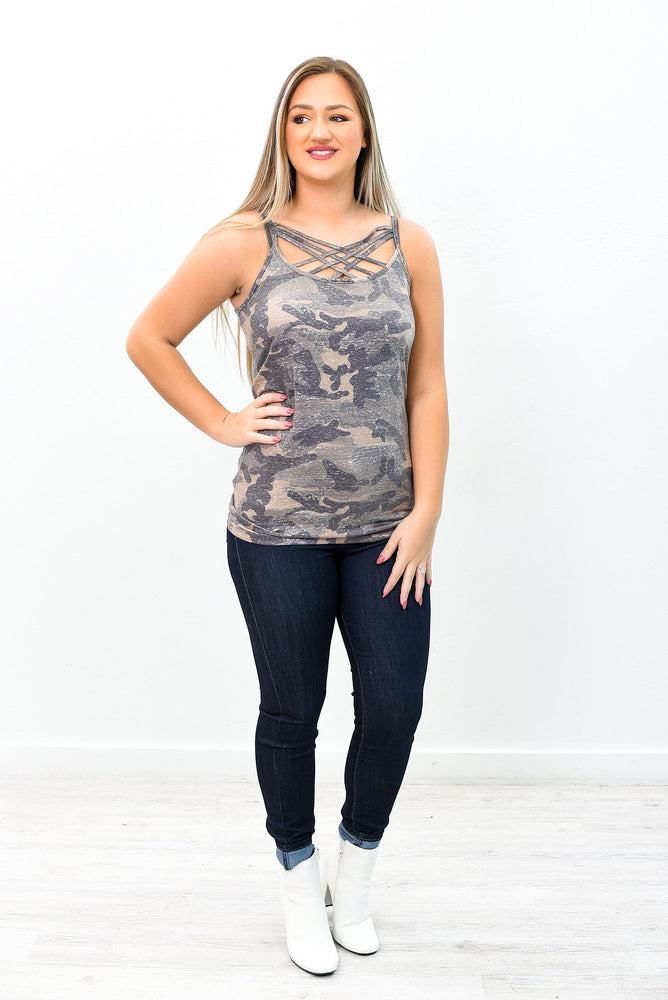Vintage Camouflage Caged Front Cami - CAM1035VCA