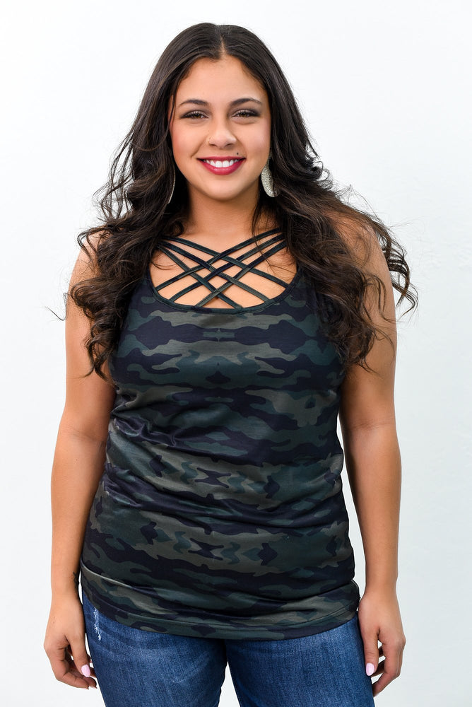 Hunter Green Camouflage Caged Front Cami - CAM1036HGN