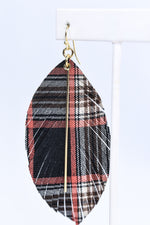 Black Plaid Feather Earrings - EAR3155BK