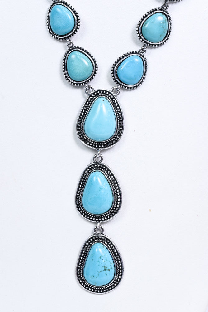 Silver/Turquoise Statement Necklace - NEK3633SI