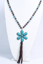 Turquoise/Silver Flower/Tassel Pendant Beaded Necklace - NEK3627TU