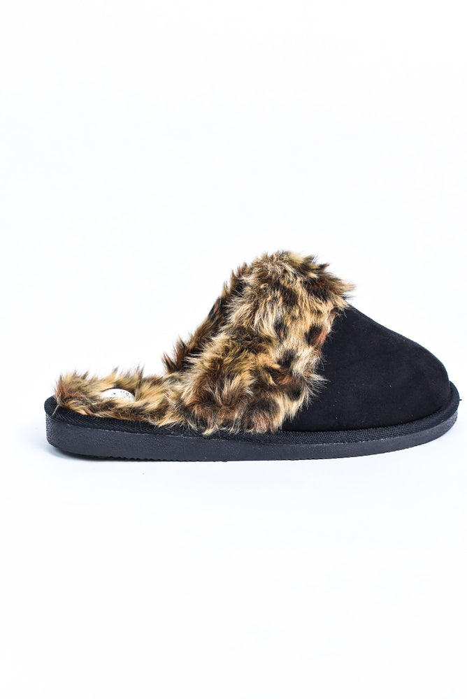Winter Bliss Black/Leopard Fur Slip On Shoes - SHO1926BK