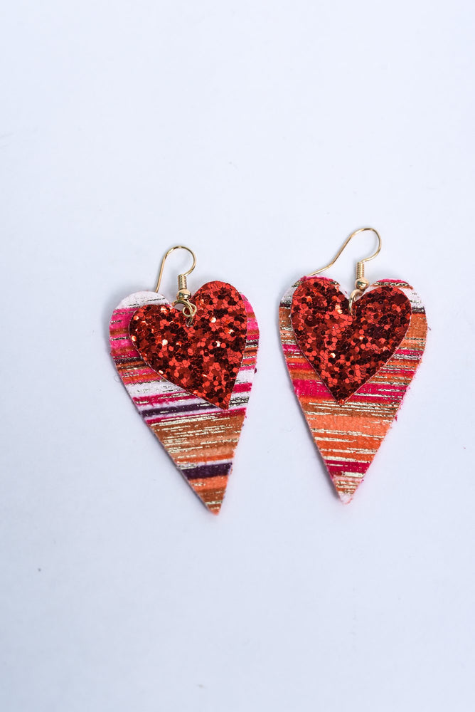 Red Glitter/Multi Color Serape Heart Earrings - EAR3167RD