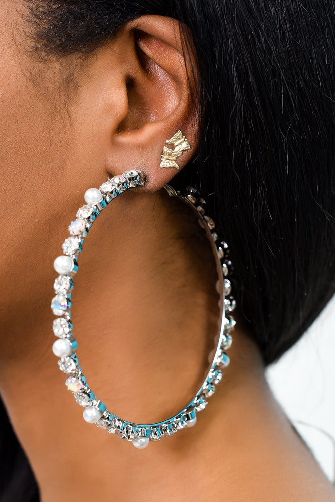 Silver/Iridescent Bling/Pearl Hoop Earrings - EAR3162SI