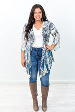 Just For You Navy/Beige Floral Printed Sheer Kimono - O2929NV