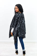 Wrapped Around You Black/Gray Printed Kimono - O2936BK