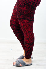 Burgundy/Black Floral Printed Leggings (Sizes 20-26) - LEG2842BU