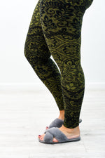 Olive/Black Floral Printed Leggings (One Size 20-26) - LEG1634OL
