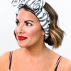 Ivory/Charcoal Gray Zebra Printed Spa Headband - BTY001IV