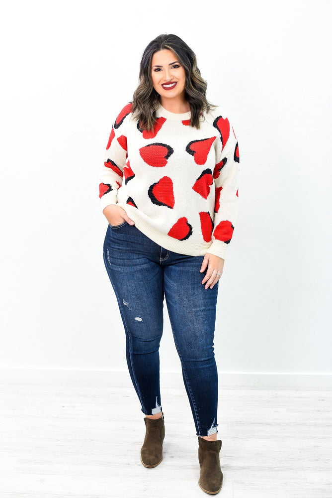 Feeling Loved Red/Ivory/Black Heart Printed Top - B10391RD