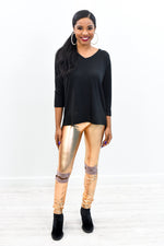 Best In Show Rose Gold Faux Leather Wide Band Leggings- LEG2849RG