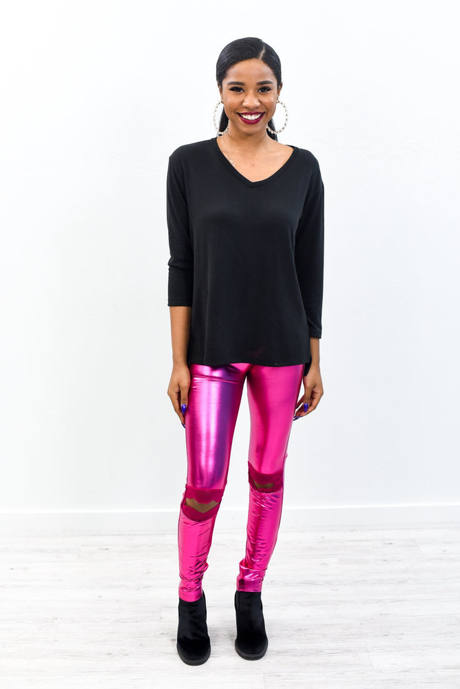 Best In Show Neon Pink Faux Leather Wide Band Leggings- LEG2850NPK