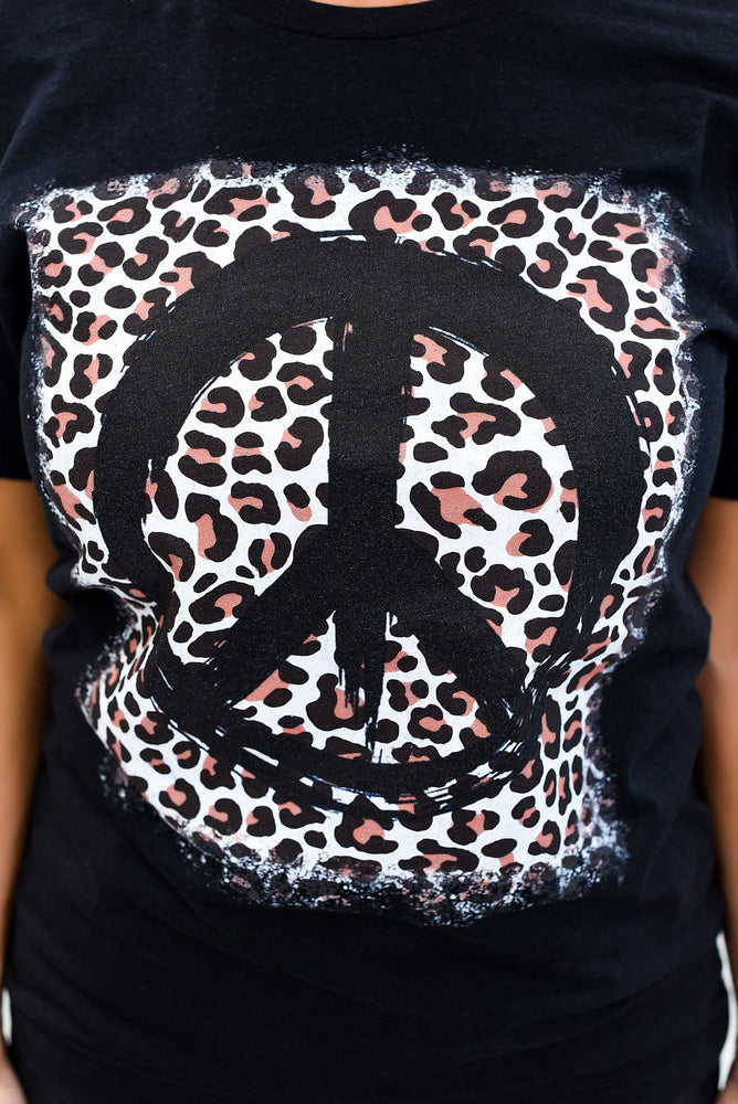 Peace Begins With A Smile Heather Black Peace Sign/Leopard Graphic Tee - A1069HBK