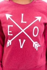 Love Vintage Red Arrow Printed Graphic Sweatshirt - A1081VRD