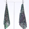 Black/Multi Color Metallic Floppy Cone Square Drop Earrings - EAR3227BLK