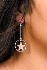 Silver/Gold Glitter Star/Circle Bar Earrings - EAR3224SI