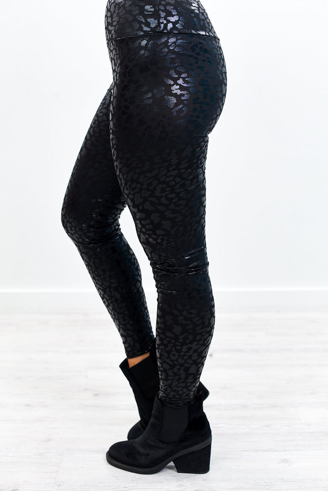 Run The World Black Leopard Wide Band Leggings - LEG2867BK