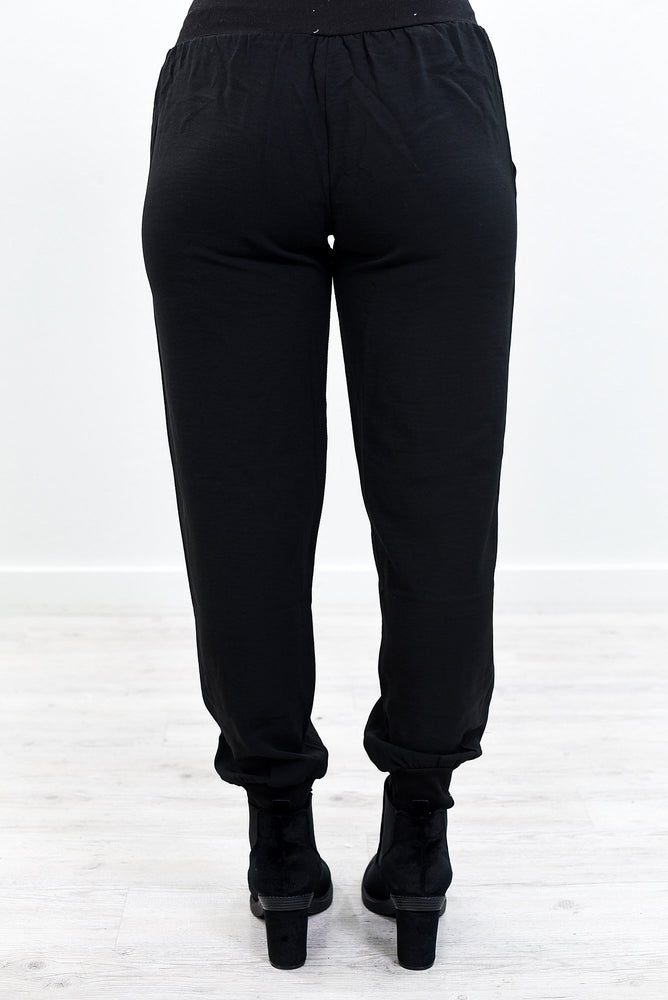 Feeling So Fab Black Solid Joggers - PNT1168BK