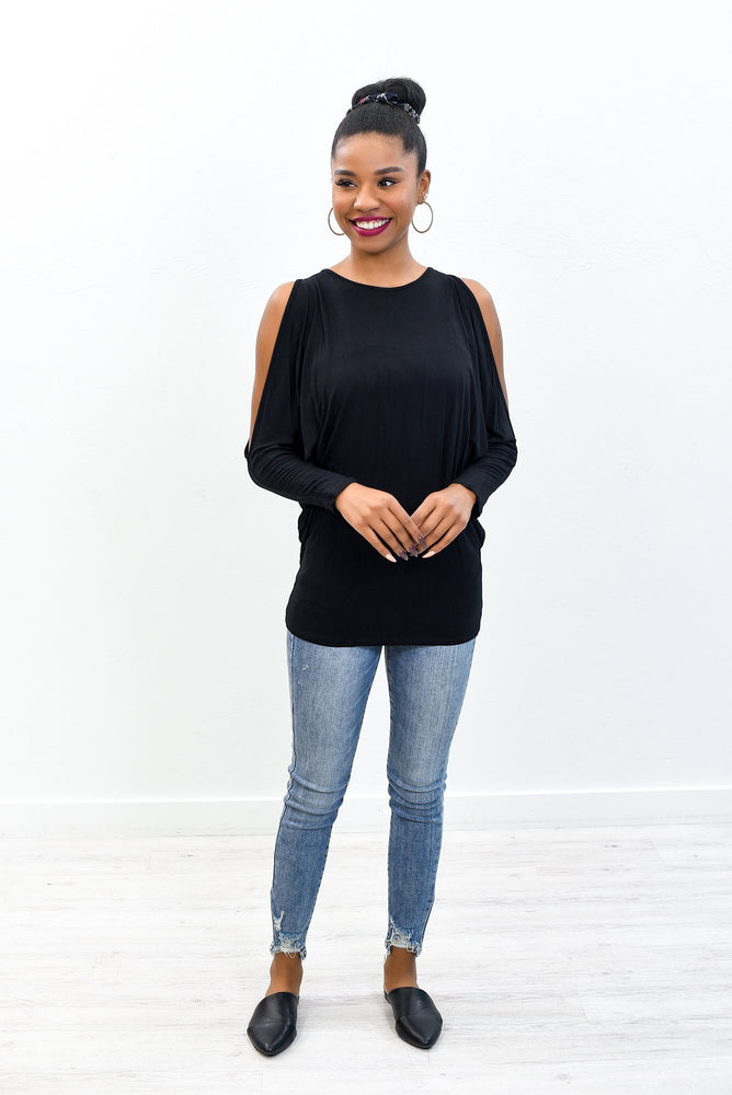 In For A Surprise Black Open Shoulder Slouchy Top - B10492BK