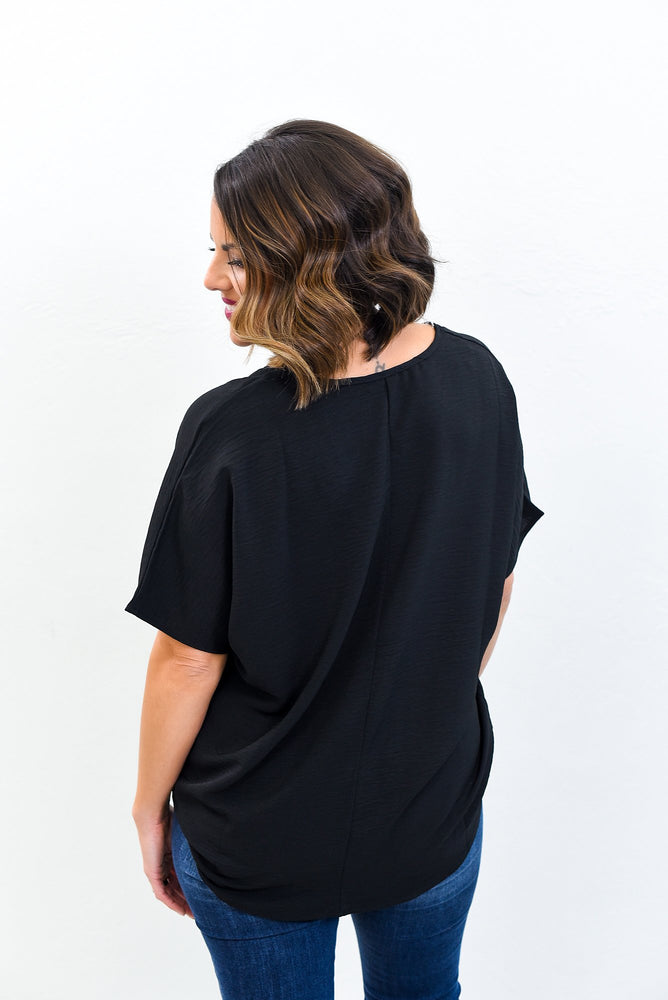 Simply The Best Black Solid V Neck Top - B10536BK