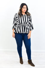 If You Want Success Be Unique Black/White Striped Top - B10539BK