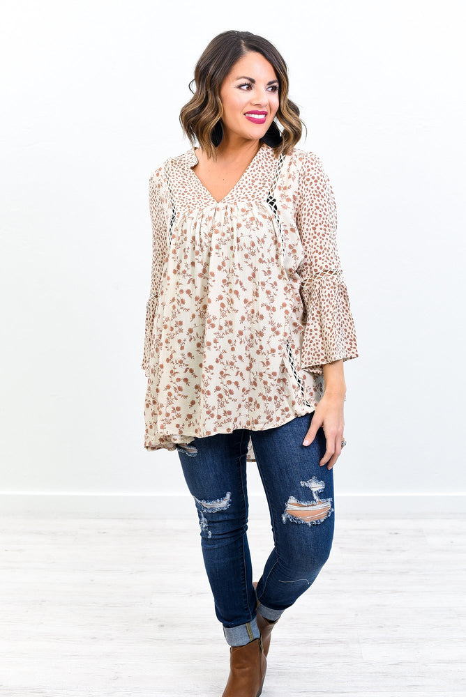The Joy Of Getting Dressed Is An Art Cream/Mocha Floral/Leopard V Neck Top - B10551CR