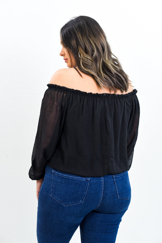 Every Day Is A Fashion Show And The World Is Your Runway Black Off The Shoulder Top - B10556BK