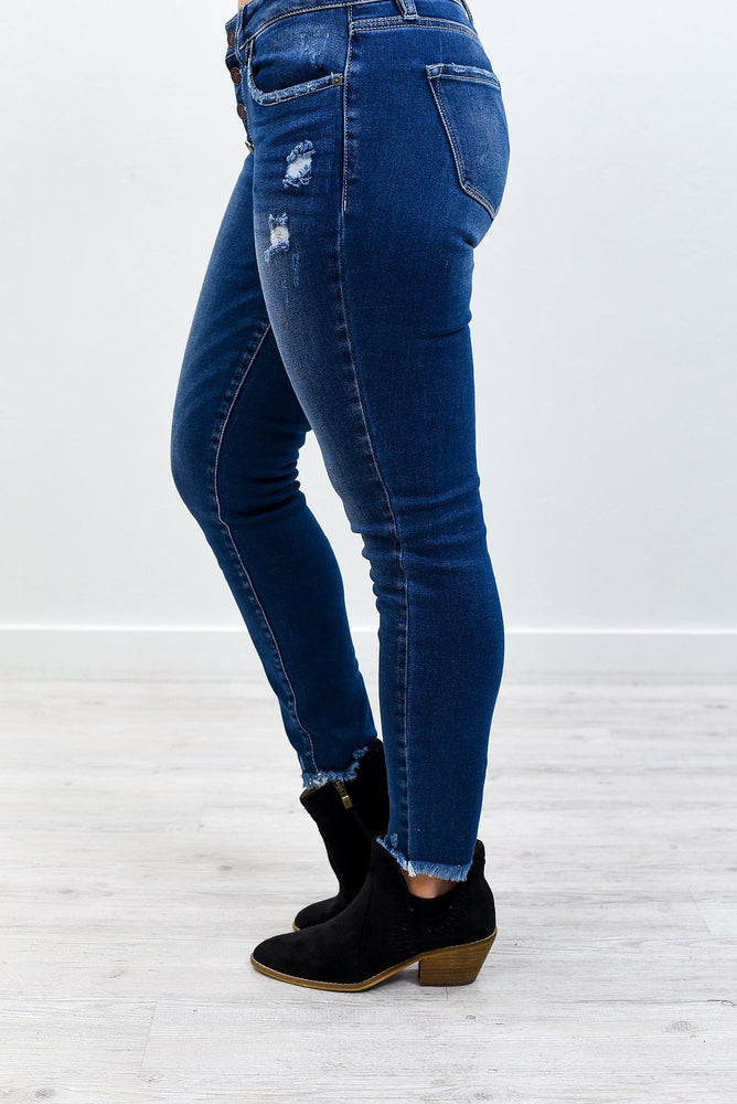 Hot Off The Press Dark Denim Distressed Jeans - K597DN