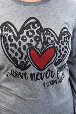 Love Never Fails Athletic Heather Gray Graphic Tee - A1088AHG