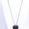 Black/Silver Bling Heart Pendant/Beaded Necklace - NEK3666BK