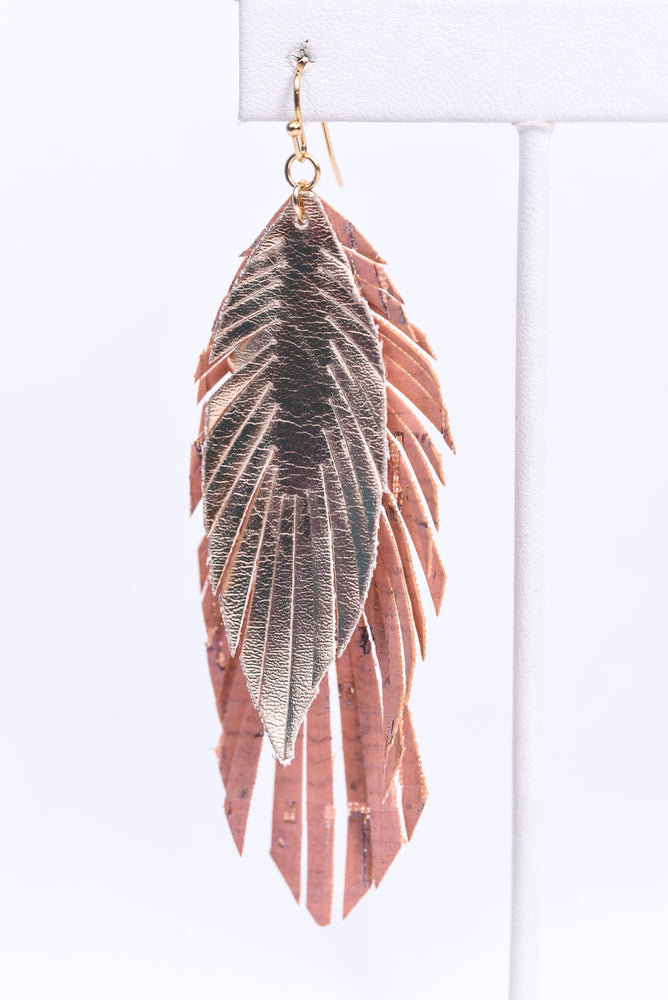 Light Pink/Rose Gold Layered Feather Earrings - EAR3235LPK