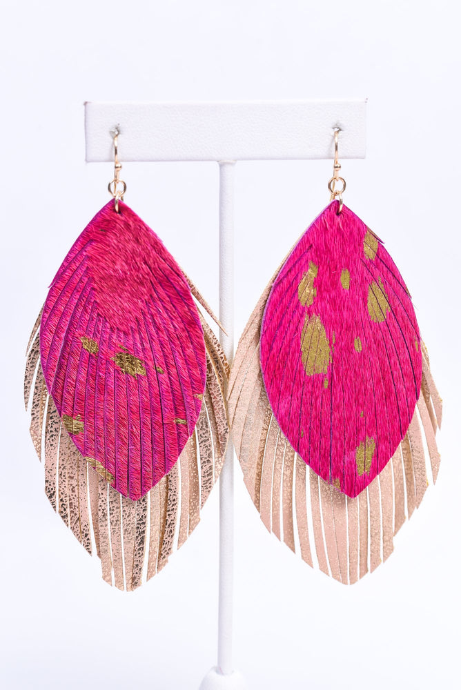 Fuchsia/Rose Gold Layered Feather Earrings - EAR3240FU