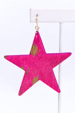 Fuchsia/Gold Flake Star Earrings - EAR3233FU