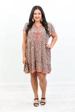 Lyrically Enlightened Mocha/Multi Color Leopard/Embroidered Dress - D3654MO