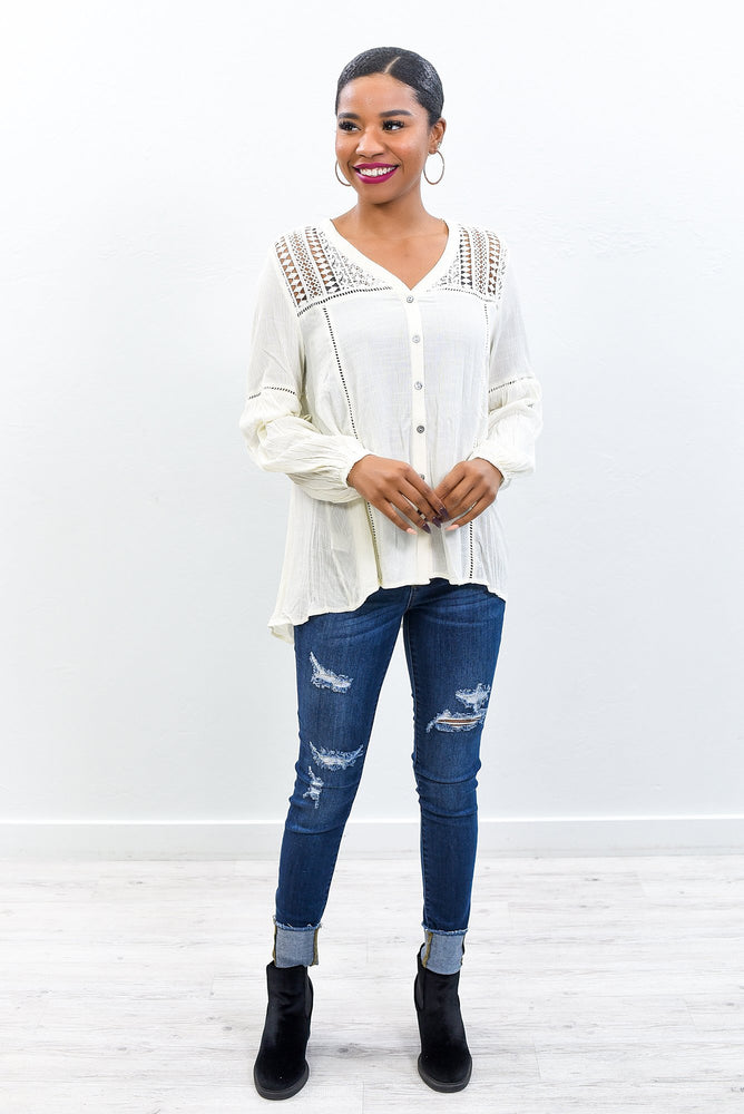 Working Class Lady Natural Embroidered Top - B10582NA