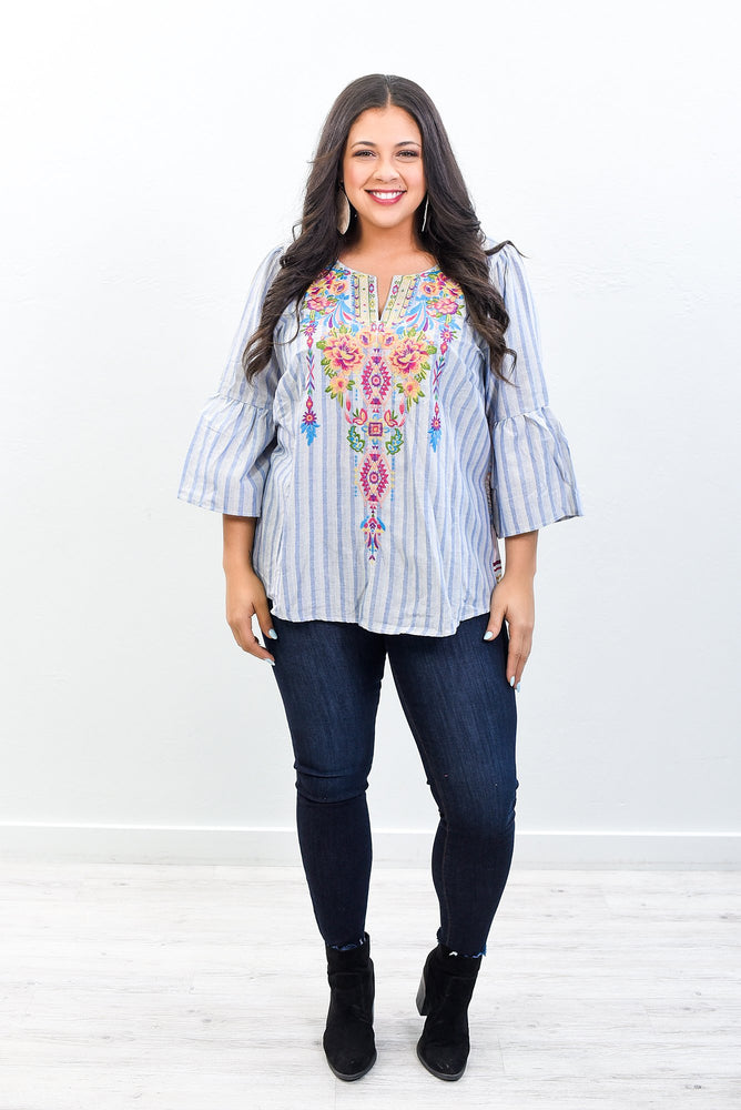 Only A Distant Memory Demin/Multi Color Embroidered V Neck Top - B10579DN