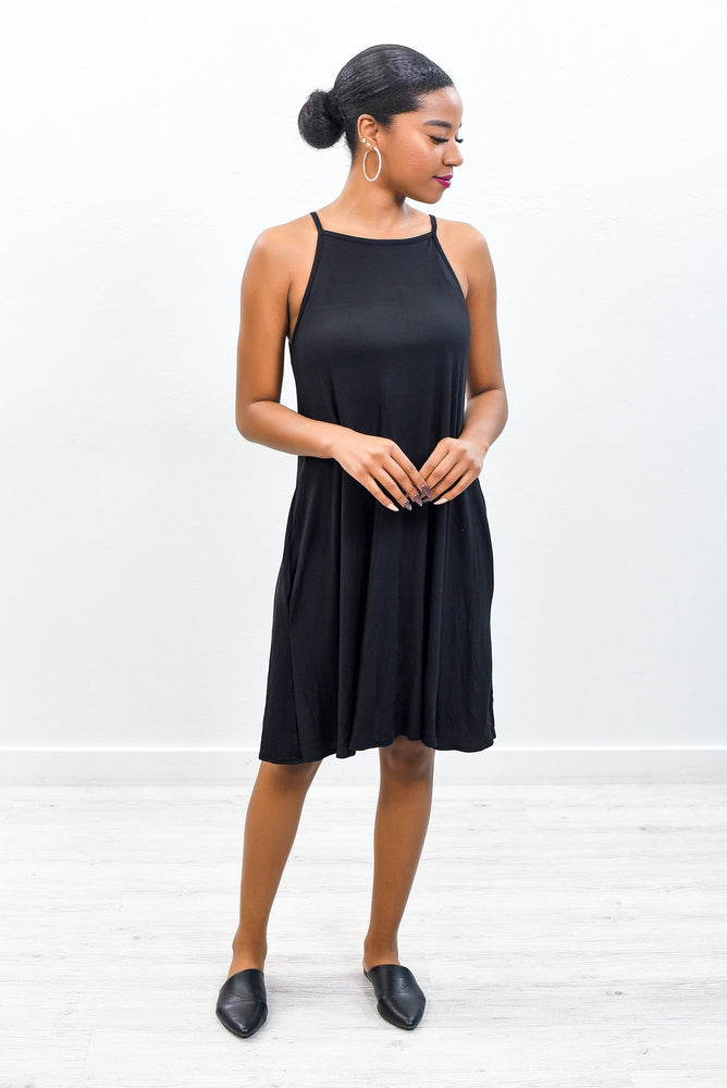 What Does Your Heart Say Now Black Solid Sleeveless Dress -  D3655BK