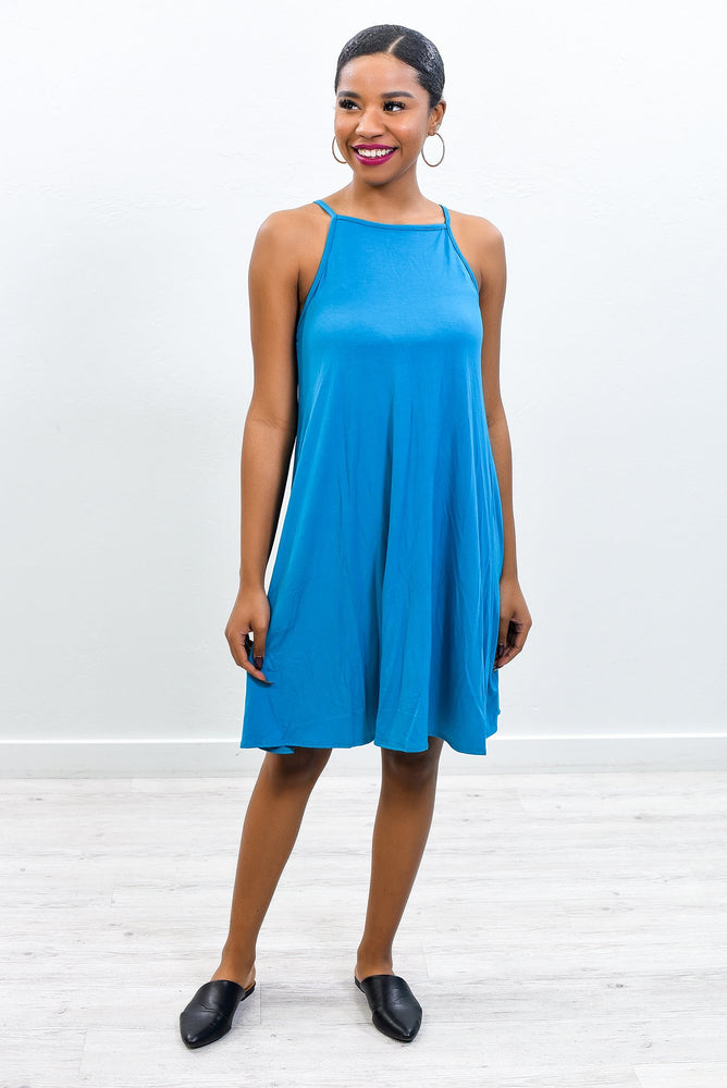 What Does Your Heart Say Now Teal Solid Sleeveless Dress - D3656TE