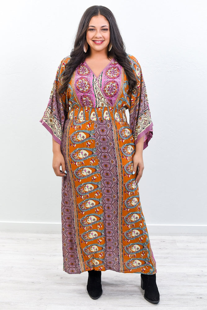 Modern Romance Rust/Rose Floral/Multi Pattern V Neck Maxi Dress - D3653RU