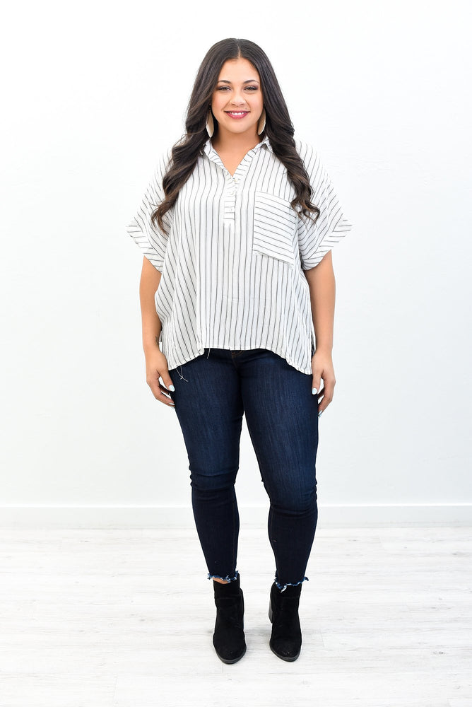 A Ocean Breeze Put A Mind At Ease Off White Striped V Neck Top - B10581OW