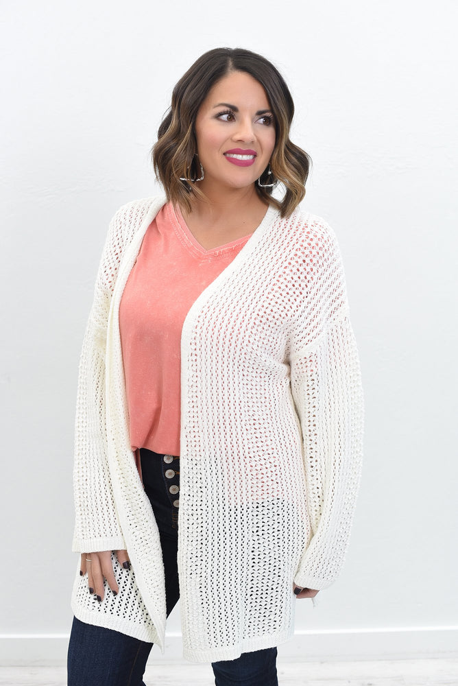 Them Old Dirt Roads Off White Knitted Cardigan - O3014OW