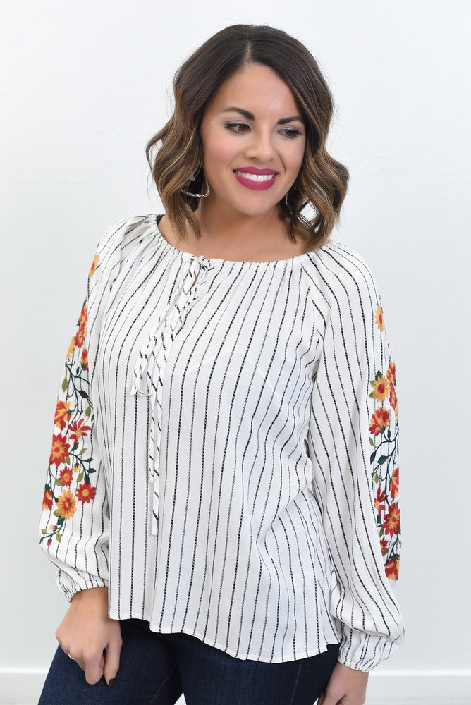 Found A Good One Ivory/Multi Color Striped/Embroidered Top - B10614IV