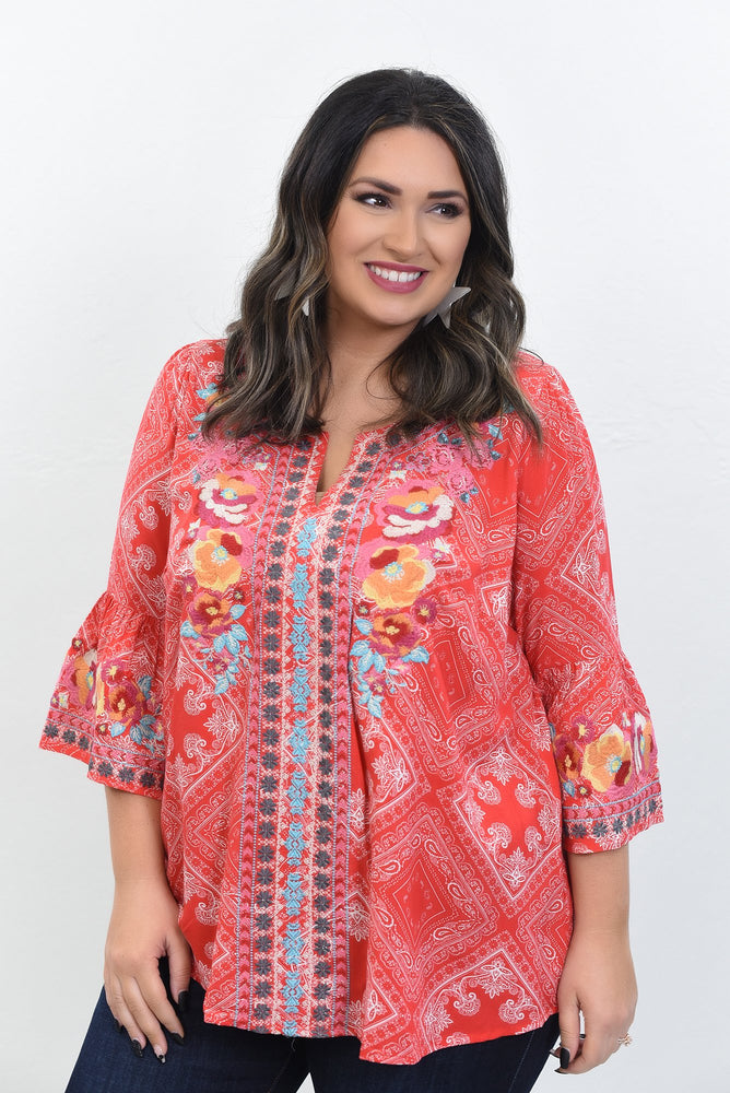 Love Letters Red/Multi Color Paisley/Embroidered Top - B10632RD