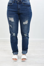 No Easy Road Ahead Dark Denim Distressed Jeans - K601DN