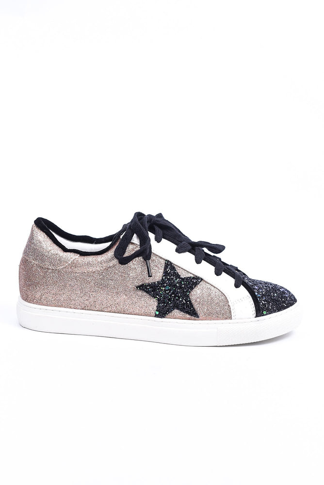 Worth The Wait Black Glitter/Rose Gold Star/Glitter Sneaker - Sho1951RG