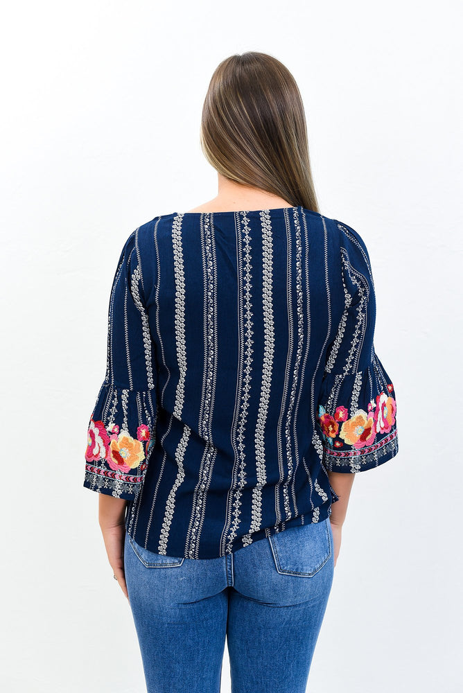 Bring Me Flowers Navy/Multi Color Floral Embroidered Top - B10745NV