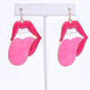 Fuchsia Lips & Tongue Earrings - EAR3248FU