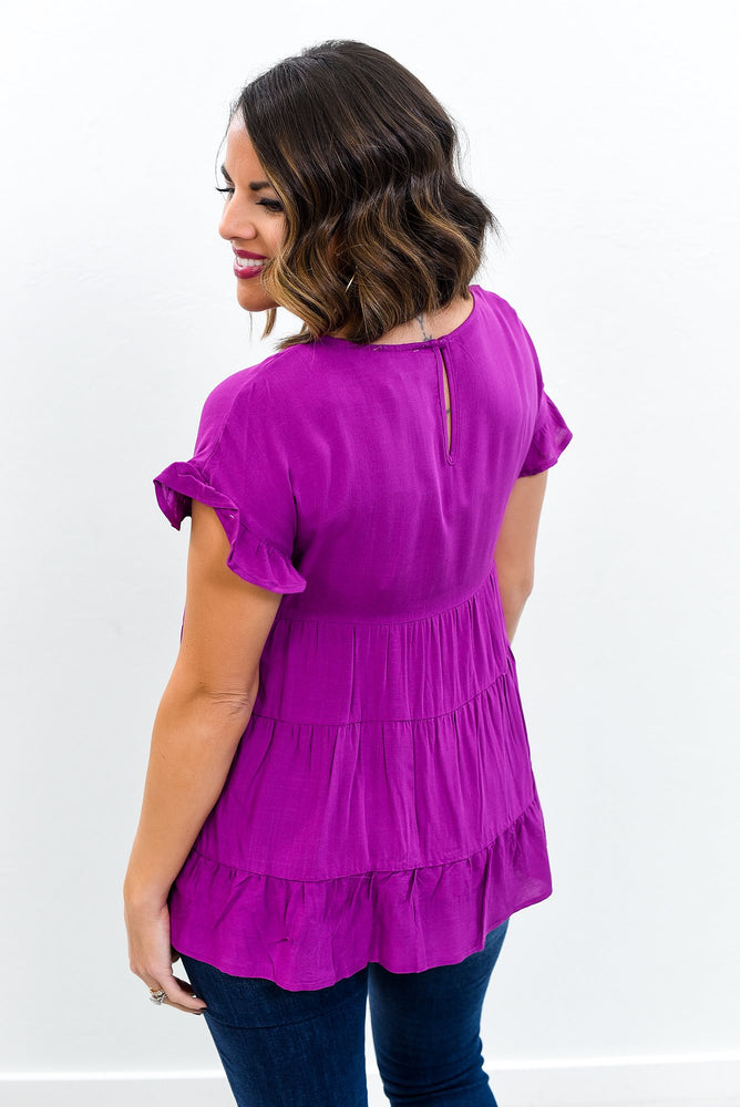 Headed To The Deep South Magenta Babydoll Top - B10773DMG
