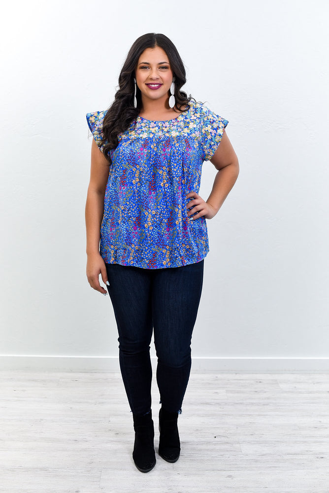 Because He Loves Me Royal Blue/Multi Color Embroidered/Floral Top - B10759RB