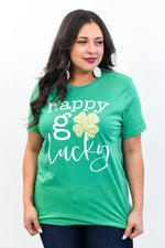 Happy Go Lucky Kelly Green Graphic Tee - A1116KG